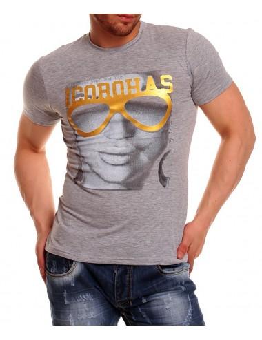 T-shirt Corohas maglietta uomo grigio con stampa