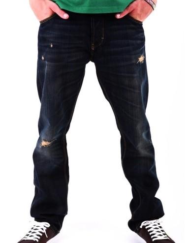 Lotus Jeans uomo pantalone nero in cotone slim