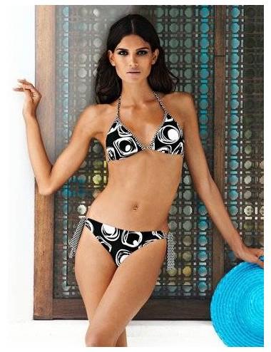 Bikini mare bianco nero costume donna due pezzi