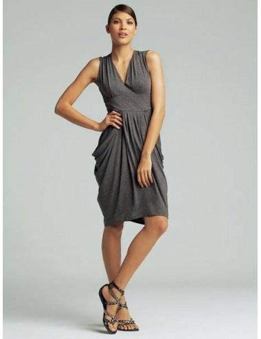 Abito donna primaverile vestito senza manica a tubo grigio