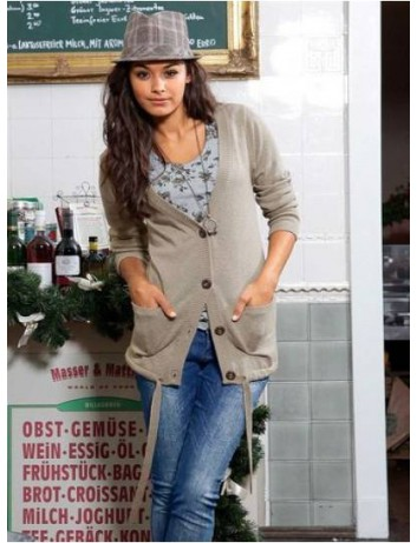 Cardigan donna beige in cotone con bottoni e cintura