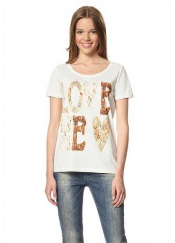 T-shirt donna in cotone bianca stampa I Love Me