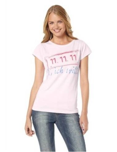 T-shirt donna maglietta manica corta lilla in cotone