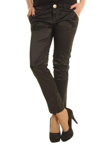 Pantalone donna Brera nero in tessuto lucido