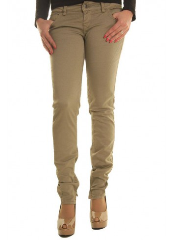 Sexy Woman Pantalone Jeans donna beige