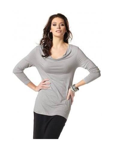 Maglia donna leggera girocollo grigio tinta unita
