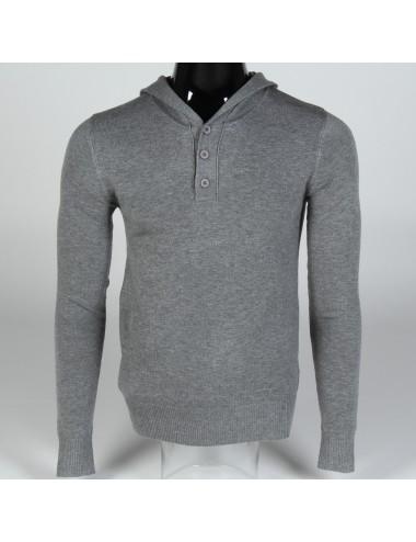 Maglione uomo misto lana con cappuccio grigio