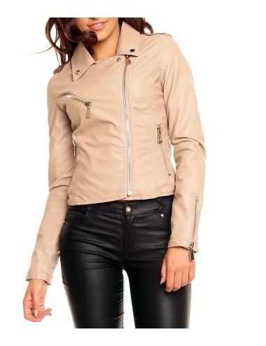 Giubbino similpelle primaverile donna giacca rosa