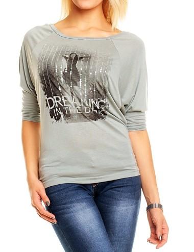 Maglia Donna in girocollo grigio con stampa viscosa