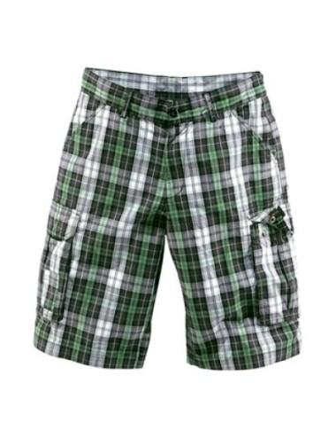 Bermuda uomo quadretti pantalone corto cargo bianco verde