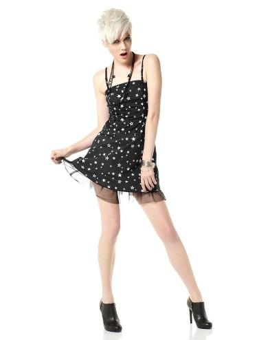 Vestito donna nero corto con spalline