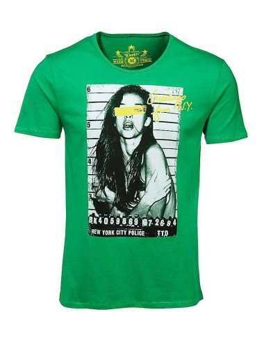 T-shirt uomo Tom Tailor Police verde in cotone con stampa