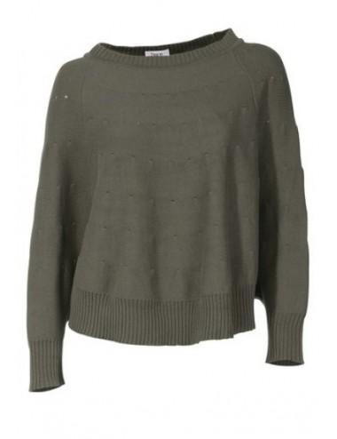 Maglione donna leggero in girocollo tinta unita misto cotone