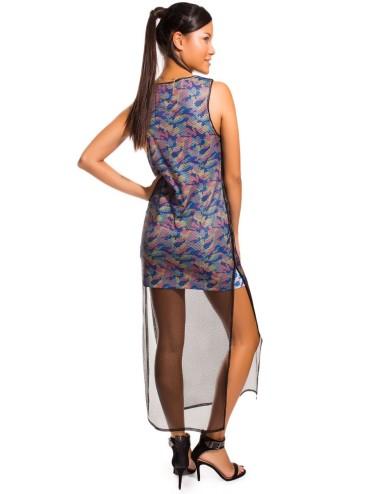 Vestito donna con velo a Rete lungo spacco laterale