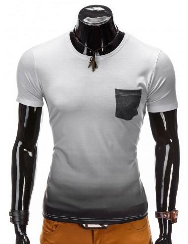 T-shirt uomo bianca con sfumature nere misto cotone con taschino