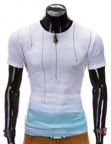 T-shirt uomo bianca misto cotone manica corta slim con grafica pesca