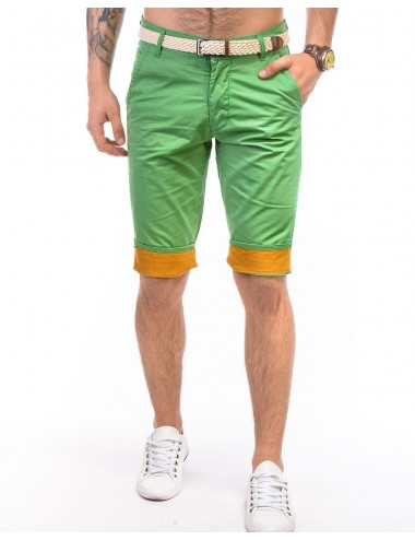 Bermuda uomo verde in cotone con cintura pantalone corto slim