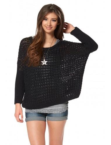 Maglione donna nero forato stile Phonco in misto lana