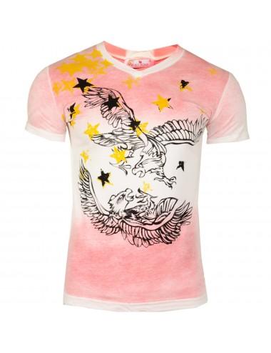 T-shirt uomo rosa in cotone con scollatura stampa falco