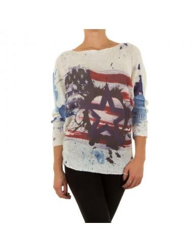 Maglione donna leggero bianco girocollo bandiera Americana
