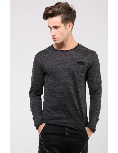 Maglione uomo leggero girocollo nero con taschino