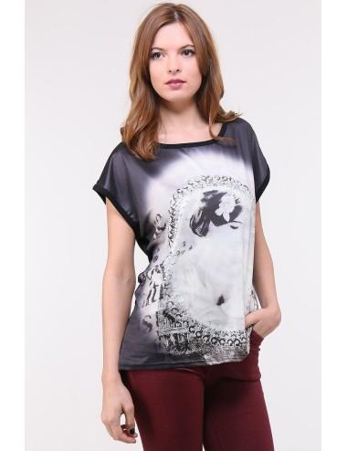 T-shirt donna nera lucida in girocollo di viscosa con disegno