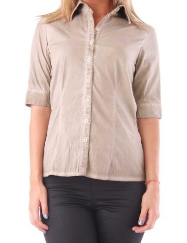 Camicia donna Rebecca manica 3/4 beige in misto cotone