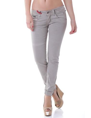 Pantalone 525 donna grigio in jeans cotone slim a caviglia stretta