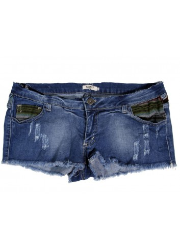 I' Am short donna jeans pantalone corto denim blu scuro in cotone