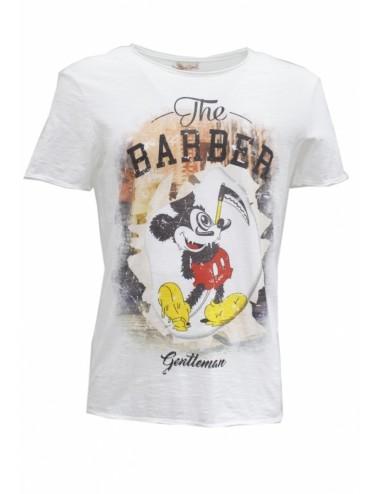 T-shirt Uomo stampa Topolino bianca in cotone