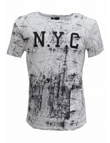 T-shirt uomo N.Y.C Made Italy bianca in cotone girocollo