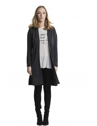 Cardigan donna lungo grigio con spacco laterale