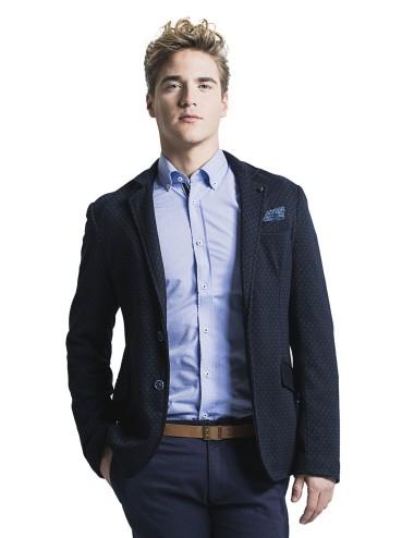 Giacca uomo casual in maglia blu con pallini a fantasia azzurri