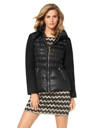 Piumino donna Amanda Ryan nero con manica in tessuto lana