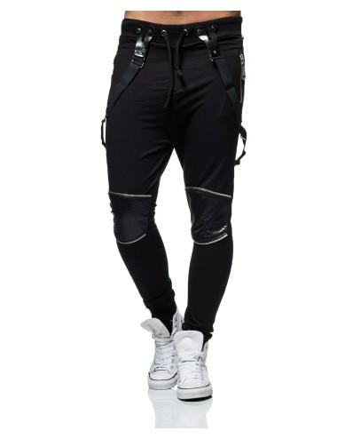 Pantalone tuta uomo nero a Polsino Carisma in cotone