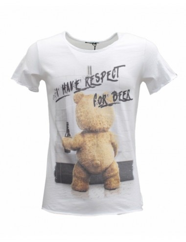 T-shirt Uomo bianca girocollo in cotone stampa Teddy