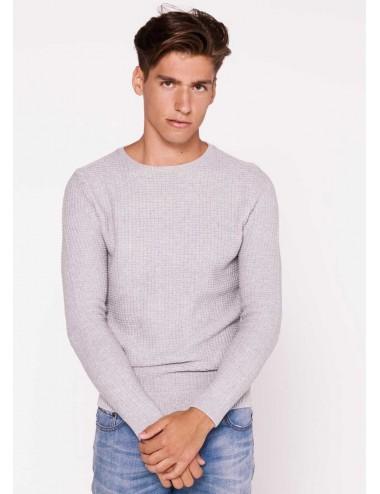 Maglione Uomo Dettaglio in girocollo grigio tinta unita cotone