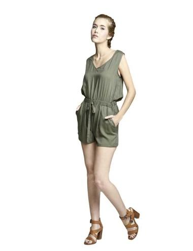 Salopette donna estiva Smanicata colore verde con tasconi