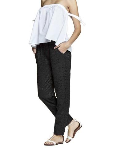 Pantalone Donna Nero in Pizzo Largo