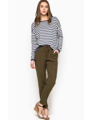 Pepe Jeans pantalone donna oliva in cotone leggero