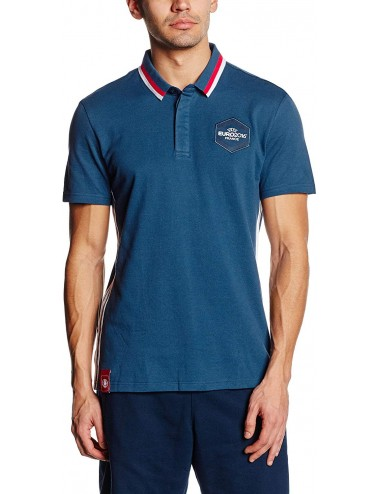 Polo Uomo Adidas Blu Pique colletto bicolore manica corta