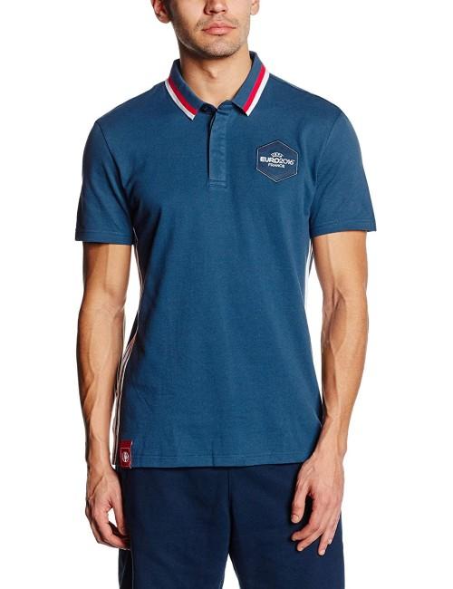 Polo Uomo Adidas Blu Pique colletto bicolore manica corta
