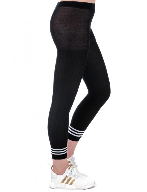 Adidas Leggings Donna 3 Stripes Neri in Cotone
