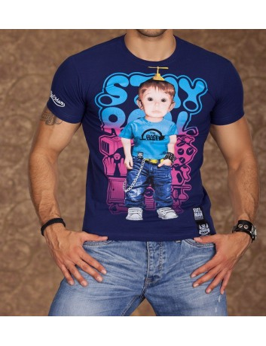 T-shirt uomo manica corta blu stampa baby boys